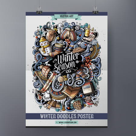 Cartoon colorful hand drawn doodles Winter poster template. Very detailed illustration. Funny vector artwork. Corporate identity design. All items are separate.
