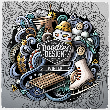 Cartoon vector doodles Winter illustration. Colorful, detailed, with lots of objects background. All objects separate. Funny vector grunge artwork
