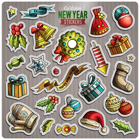 Set of Happy New Year cartoon stickers