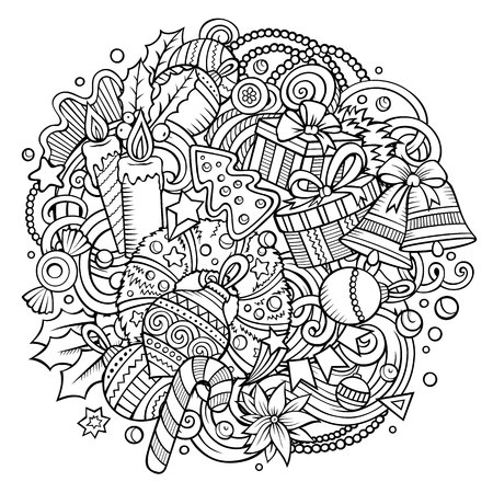 Cartoon objects vector doodles for Christmas and  New Year symbols in a circular design illustration Illustration