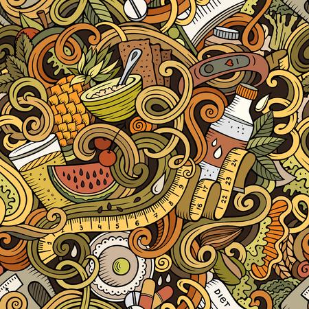 漫画かわいい落書きが描かれたダイエット食品、シームレスなパターンを手します。  イラスト・ベクター素材