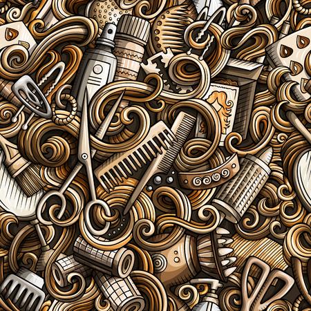 漫画かわいい落書きは手描き下ろし髪サロン シームレス パターンです。詳細は、オブジェクトの背景のたくさんのモノクロ。Bhairstyle シンボルとア  イラスト・ベクター素材