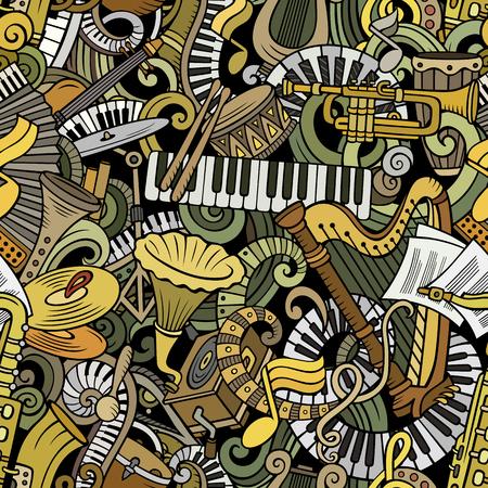 Modello senza cuciture di musica classica di scarabocchi svegli del fumetto. Colorato dettagliato, con un sacco di oggetti sullo sfondo. Tutti gli elementi si separano. Sfondo con oggetti di strumenti musicali Archivio Fotografico - 91026565