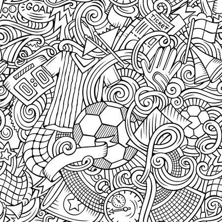 Cartoon cute doodles hand drawn soccer seamless pattern.