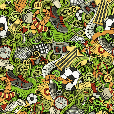 Cartoon cute doodles hand drawn soccer seamless pattern. Colorful detailed, with lots of objects background. Endless funny vector illustration.