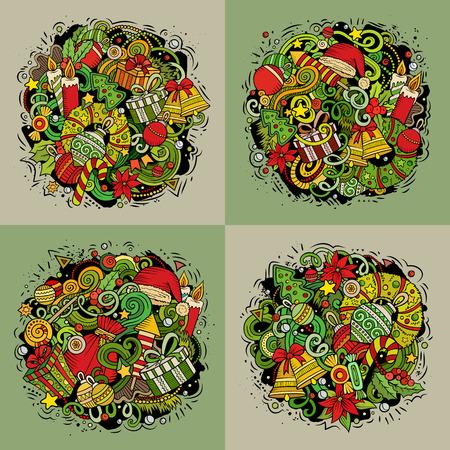 クリスマスと新年の飾り、4つの正方形の組成物セット
