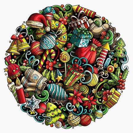 Cartoon vector doodles, Nieuwjaar illustratie. Kleurrijk, gedetailleerd, met veel objecten achtergrond. Felgekleurde kerstornamenten