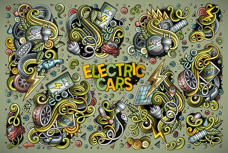 다채로운 벡터 손으로 그린 낙서 만화 세트 전기 자동차 개체 및 기호입니다. 모든 개체가 분리됩니다.