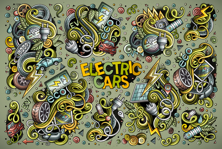 Colorful vector hand drawn doodle cartoon set of Electric cars objects and symbol. All objects separate.