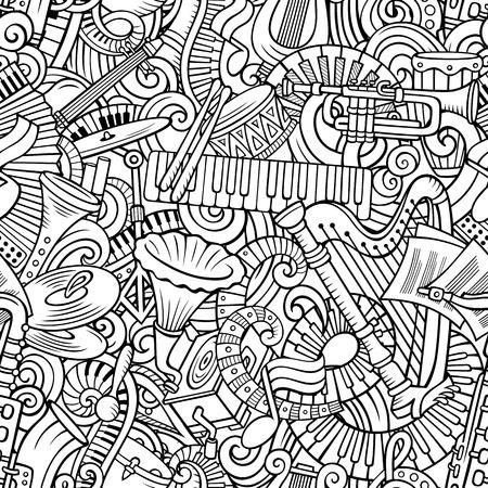 Dessin animé mignon doodles modèle sans couture de musique classique. Dessin au trait, détaillé, avec beaucoup de fond d'objets. Tous les éléments sont séparés. Fond avec des objets d'instruments de musique. Banque d'images - 91032300
