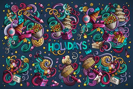 カラフルなベクトルの手は、休日オブジェクトとシンボルの落書き漫画セットを描画されます。すべてのオブジェクトは独立しました。