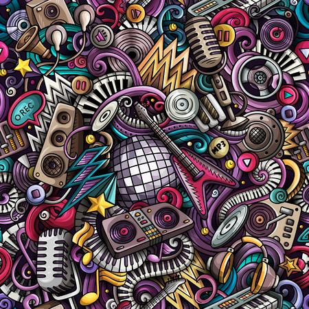 Cartoon cute doodles Disco music seamless pattern Ilustração