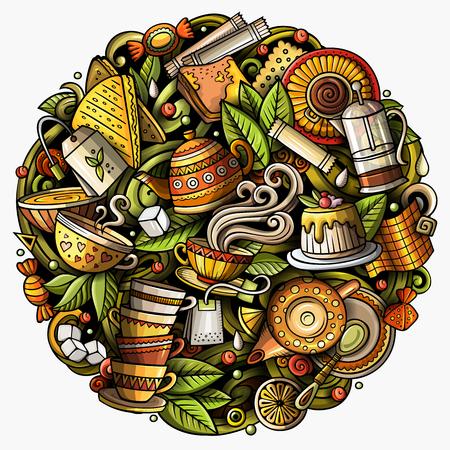 Cartoon vector doodles Tea illustration