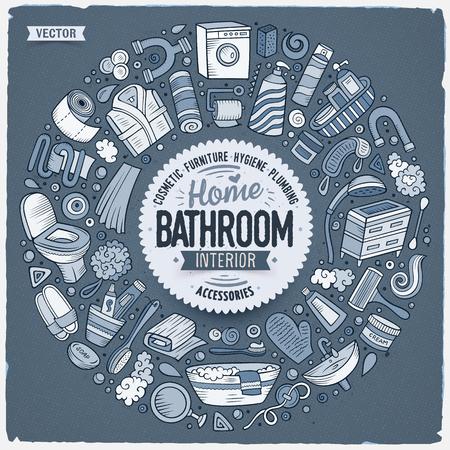 톤된 벡터 손으로 그려진 된 집합 욕실 만화 낙서 개체, 기호 및 항목. 라운드 프레임 구성