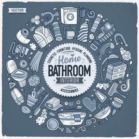 Toned vector hand drawn set of Bathroom cartoon doodle objects, symbols and items. Round frame composition Ilustração