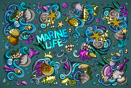 Vector set of sealife combinations of objects and elements Иллюстрация