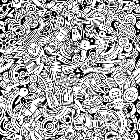 Cartoon cute doodles of Automotive seamless pattern Çizim