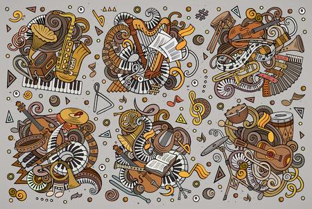 Kleurrijke vector doodles cartoon set klassieke muziekinstrumenten objecten combinaties Stock Illustratie