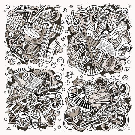 オブジェクトと要素の組み合わせの古典的な楽器のトーンベクトル手描き落書き漫画セット