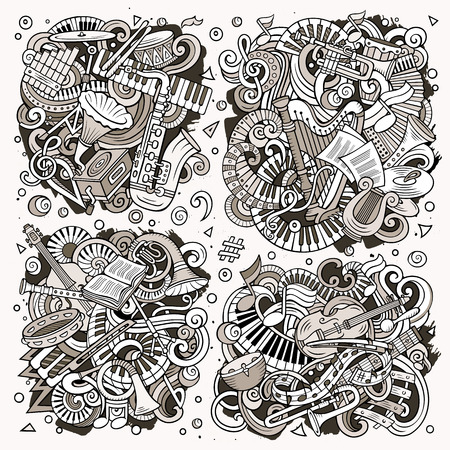 Toned vector hand drawn doodles cartoon set of classical musical instruments combinations of objects and elements