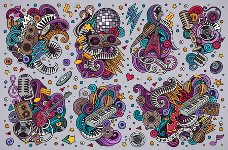 Colorful doodles cartoon set of disco music objects. Ilustrace