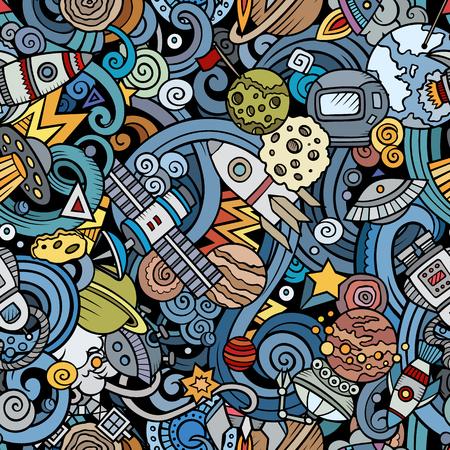 Cartoon cute doodles Space seamless pattern Ilustração