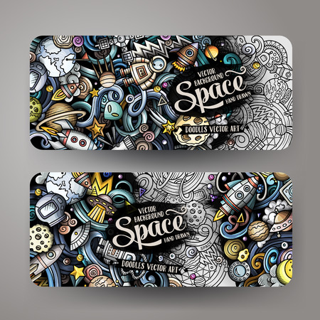 Cartoon cute doodles hand drawn space banners Illustration
