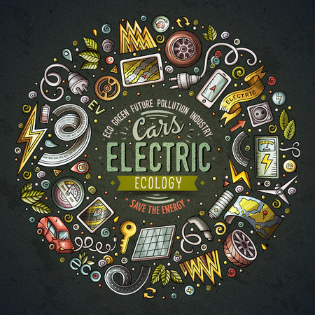 Vector hand drawn set of Electric cars cartoon doodle objects