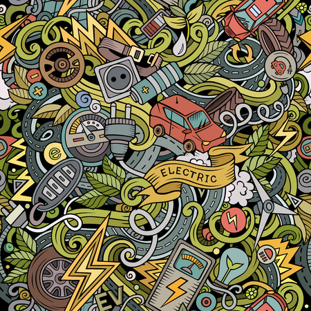 Cartoon cute doodles hand drawn Electric vehicle pattern. Illustration