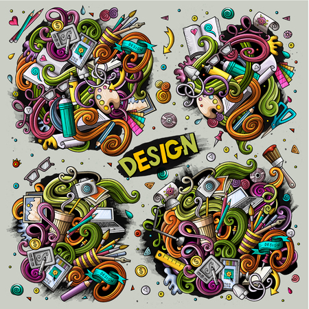 Colorful vector hand drawn doodles cartoon set of design combinations of objects and elements