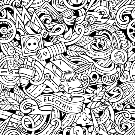 Cartoon cute doodles hand drawn electric vehicle pattern.
