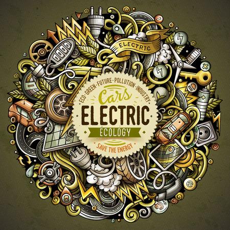 Cartoon doodles electric cars illustration. Иллюстрация