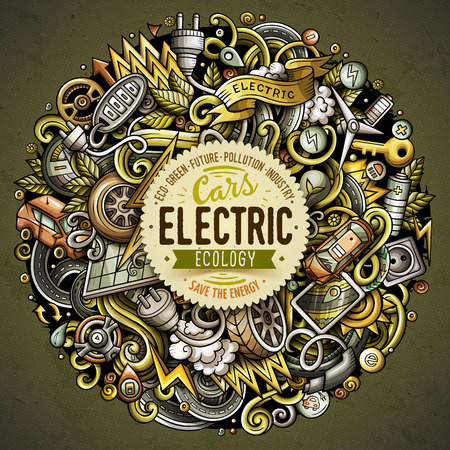 Cartoon doodles electric cars illustration. Vettoriali