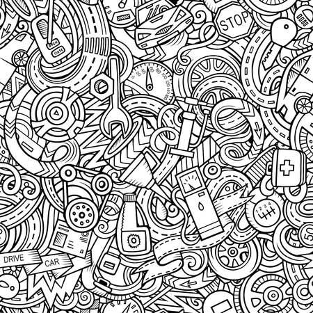 Cartoon cute doodles Automotive seamless pattern. Line art detailed, with lots of objects background. All objects separate. Backdrop with car parts symbols and items Vektorové ilustrace