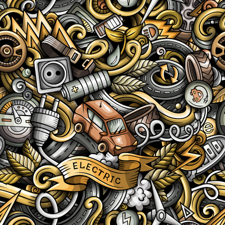 Cartoon cute doodles Electric vehicle seamless pattern. Colorful detailed, with lots of objects background. All objects separate. Backdrop with eco cars symbols and items