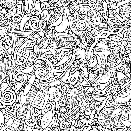 만화 귀여운 낙서 라틴 아메리카 원활한 패턴