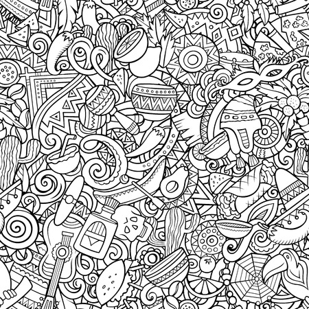 Cartoon cute doodles Latin America seamless pattern Illustration