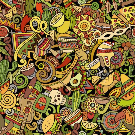 Naadloze patroon van Latijns-Amerika van beeldverhaal het leuke krabbels