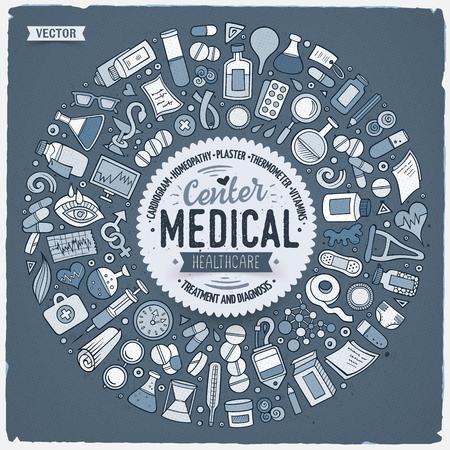 医療漫画落書きオブジェクトのセット。