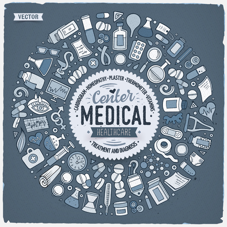 Set of medical cartoon doodle objects. 向量圖像