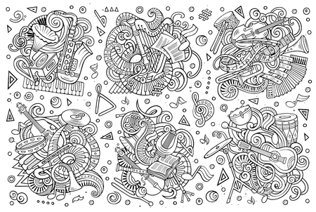 Doodles cartoon set of classical musical instruments objects.