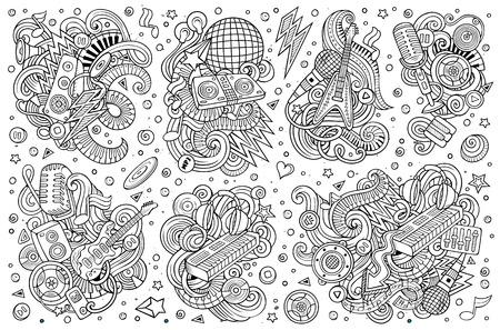 Doodles cartoon set of disco music objects.