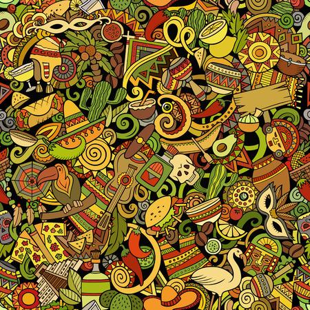 Cartoon cute doodles Latin America seamless pattern 矢量图像