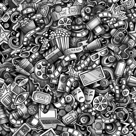 Cartoon cute doodles Cinema seamless pattern. Monochrome illustration with lots of objects. All items separated. Background with movie symbols and elements.