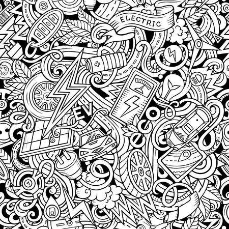 Cartoon cute doodles Electric vehicle seamless pattern. Line art detailed, with lots of objects background. All objects separate. Backdrop with eco cars symbols and items.