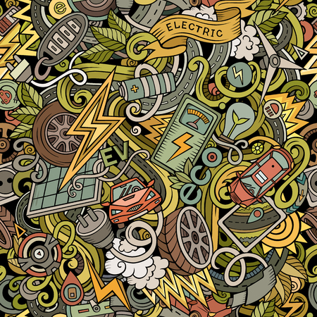 Cartoon cute doodles Electric vehicle seamless pattern. Colorful detailed, with lots of objects background. All objects separate. Backdrop with eco cars symbols and items.