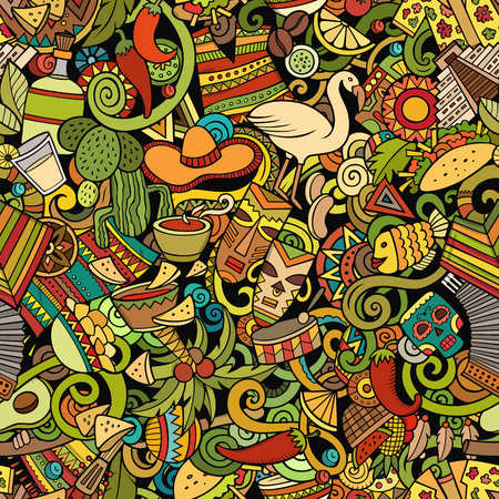 Cartoon cute doodles Latin America seamless pattern. Colorful detailed, with lots of objects background. All objects separate. Backdrop with Latin american symbols and items.