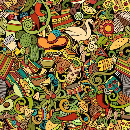 Cartoon Cute Doodles Latin America Seamless Pattern Colorful