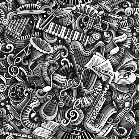Nahtloses Muster der klassischen Musik der netten Gekritzel der Karikatur. Monochrom detailliert, mit vielen Objekten Hintergrund. Alle Elemente trennen sich. Hintergrund mit Musikinstrumentgegenständen Standard-Bild - 93085914