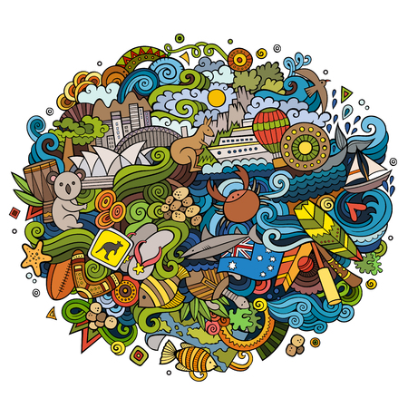 Australia doodles elements and symbols background. Vector hand drawn illustration